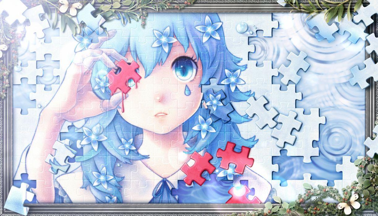 blood blue blue eyes blue hair bouno satoshi butterfly flowers original tears wallpaper