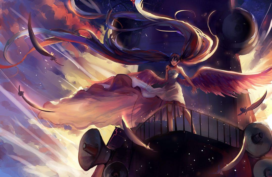 blue eyes clouds dress feathers hatsune miku jpeg artifacts long hair sishenfan sky sunset twintails vocaloid wings wallpaper