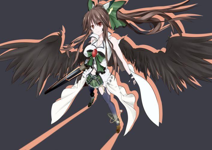 bow breasts brown eyes brown hair cleavage garter belt gray long hair navel reiuji utsuho skirt tagme (artist) touhou weapon wings wallpaper