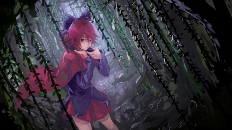 bow cape forest kaatoso red eyes red hair sekibanki short hair skirt touhou tree wallpaper