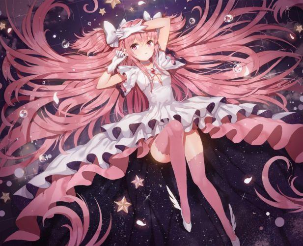 bow breasts choker cleavage dangmill dress gloves kaname madoka long hair mahou shoujo madoka magica pink hair stars thighhighs ultimate madoka wallpaper