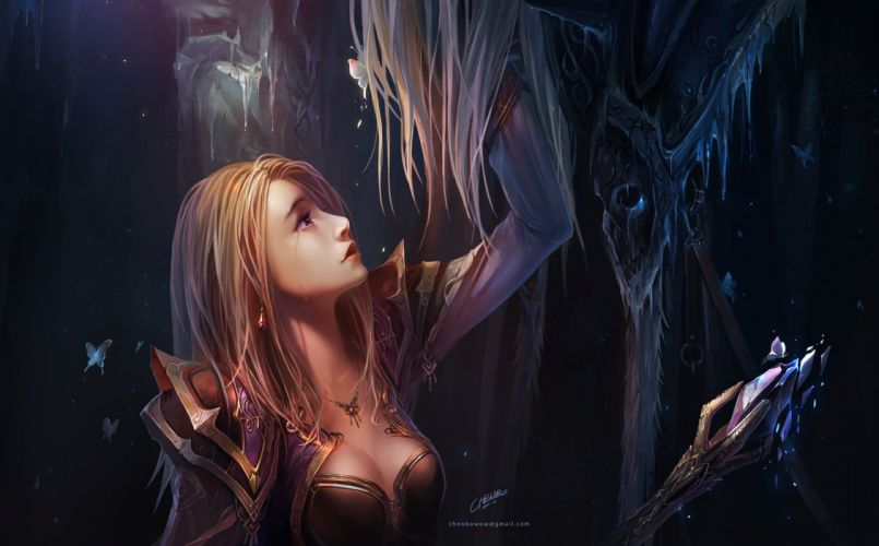 breasts chenbo cleavage world of warcraft wallpaper