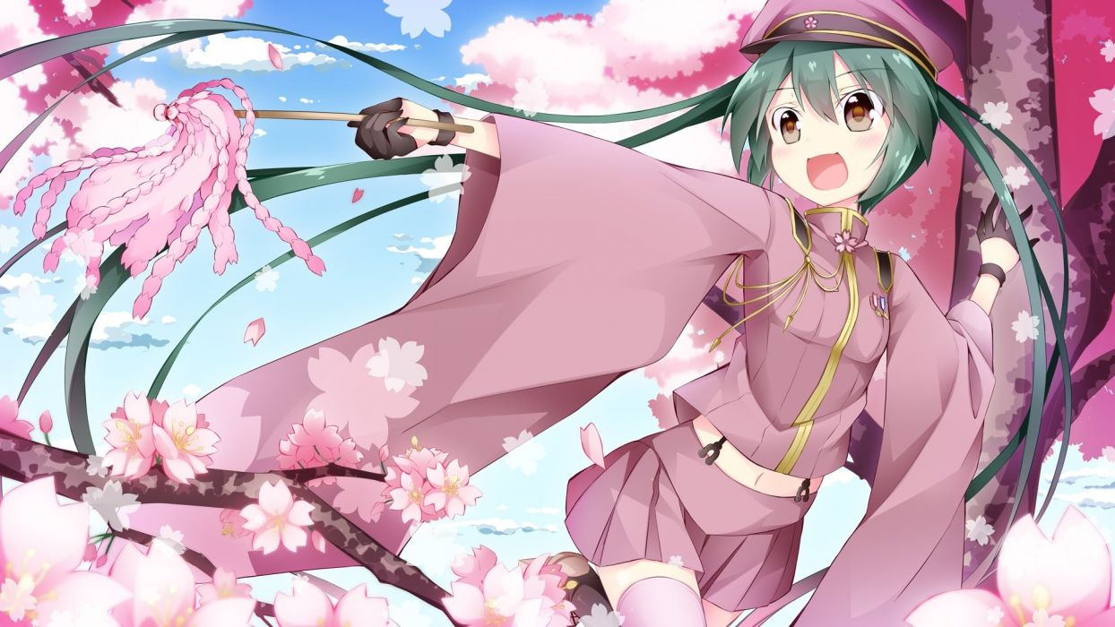 brown eyes cherry blossoms flowers gloves hat hatsune miku inumine aya navel senbon-zakura (vocaloid) skirt thighhighs twintails vocaloid wallpaper