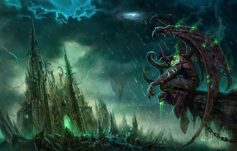 building chain clouds dark green magic rain signed water wings world of warcraft wallpaper