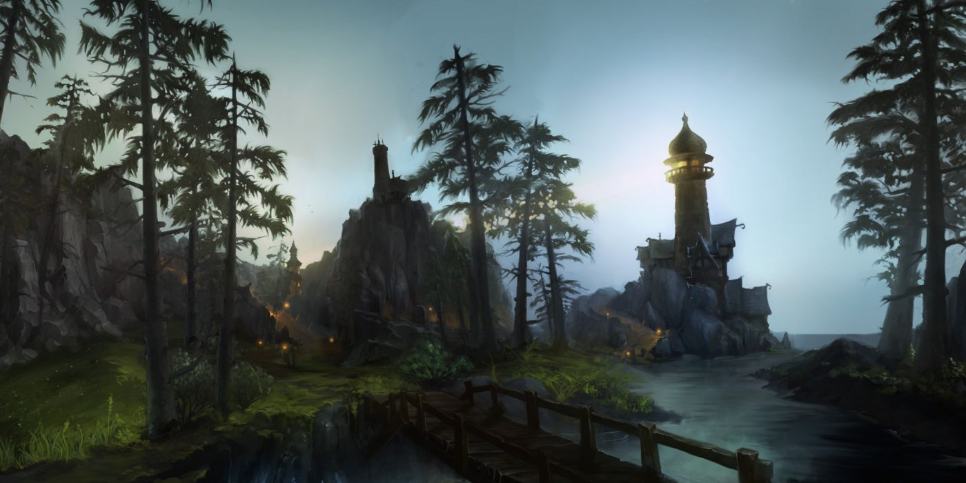 building landscape leaves nobody scenic tree water world of warcraft wallpaper