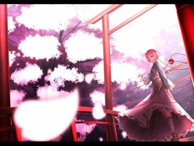 cherry blossoms kneehighs komeiji satori short hair skirt torii touhou waterdog wallpaper