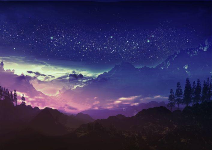 clouds forest landscape original scenic sky stars tree y-k wallpaper