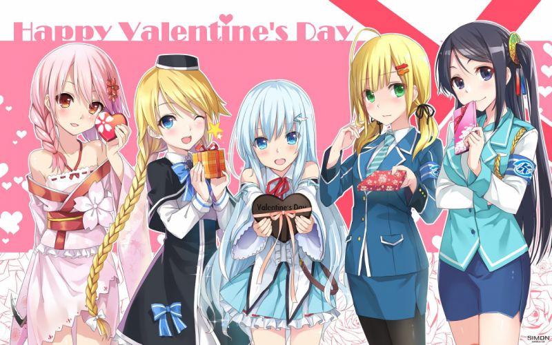 dress group hika (cross-angel) pantyhose uniform valentine wink wallpaper