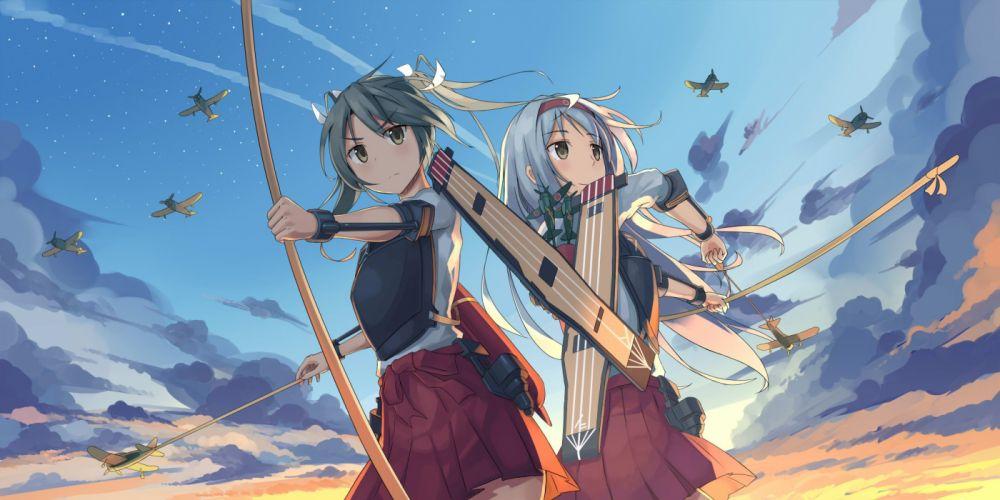 girls aircraft bow (weapon) cchhii3 clouds headband kantai collection shoukaku (kancolle) skirt weapon zuikaku (kancolle) wallpaper