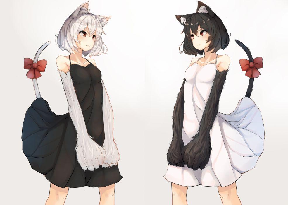 girls animal ears black hair bow catgirl dress elbow gloves original plan (planhaplalan) short hair tail white white hair wallpaper