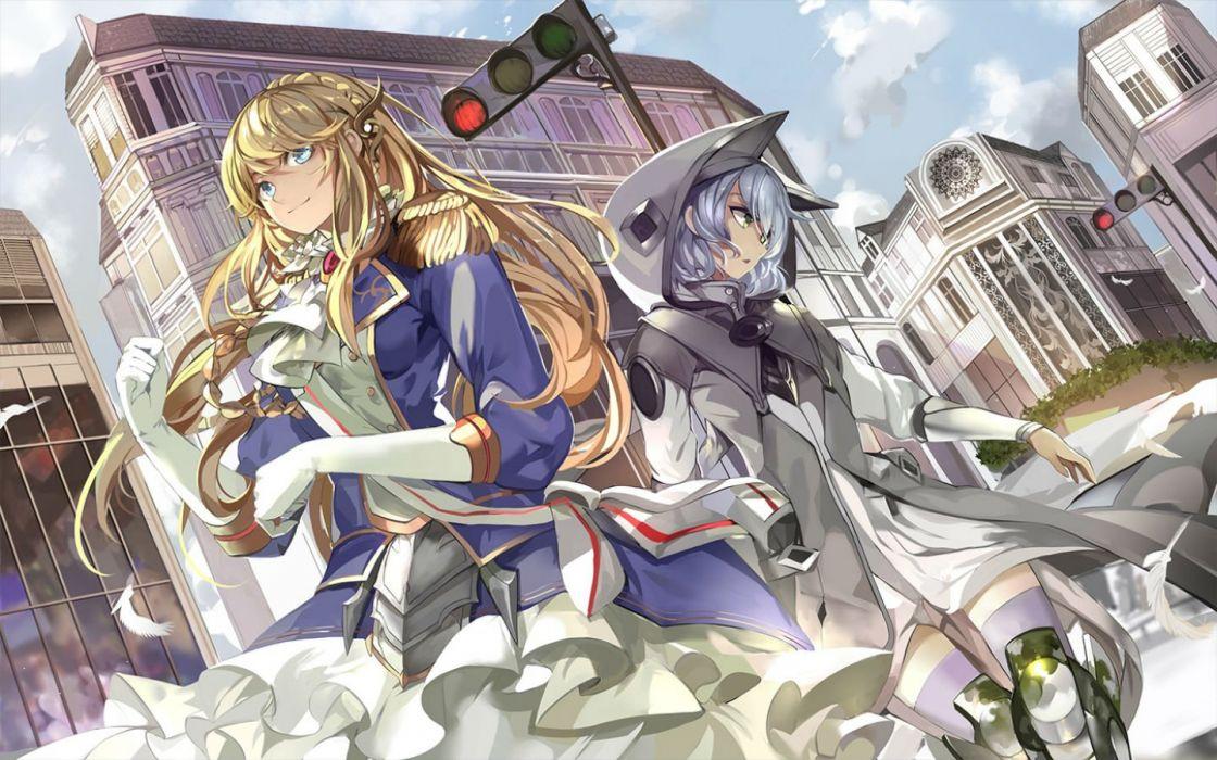 girls blonde hair building gloves gray hair long hair saberiii short hair thighhighs uniform wallpaper
