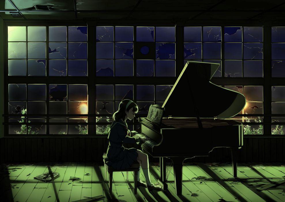 headband instrument leaves music night original paper piano ruins seifuku skirt socks wallpaper