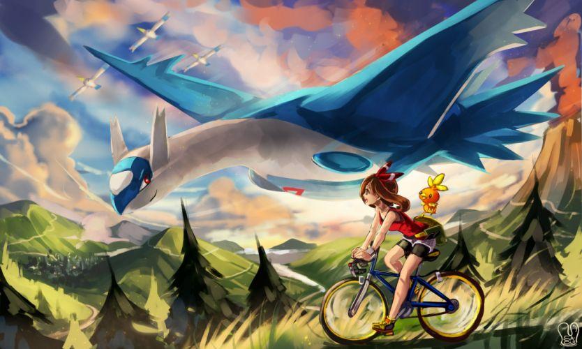 haruka (pokemon) latios pokemon sa-dui torchic watermark wingull wallpaper