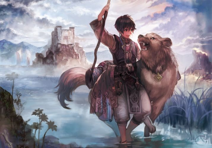 male animal brown hair building clouds collar grass male original short hair staff taka (fishdrive) water wallpaper