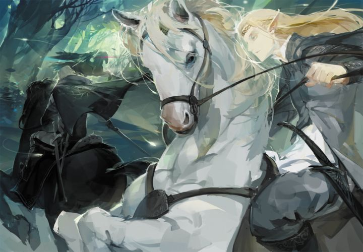 male animal blonde hair cape forest headband horse long hair male original pointed ears rained sword the hobbit tree weapon wallpaper