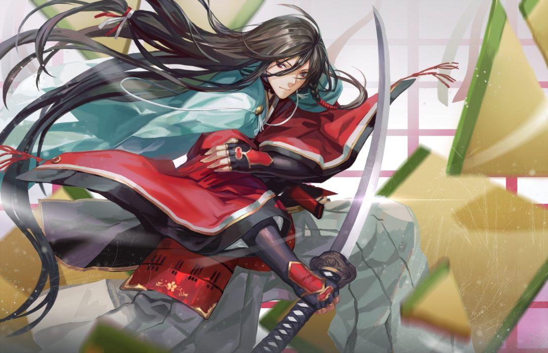 male black hair izumi-no-kami kanesada japanese clothes katana long hair male sword touken ranbu weapon zhouran wallpaper