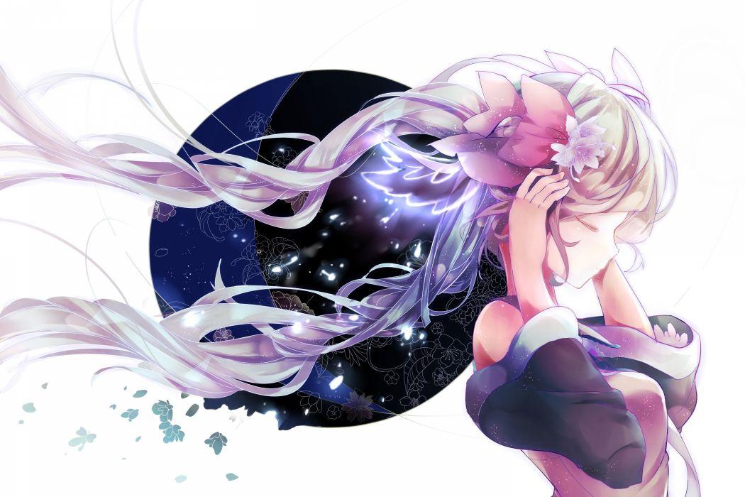 Vocaloid Hatsune Miku Wind Gray Shirt Exposed Shoulders wallpaper