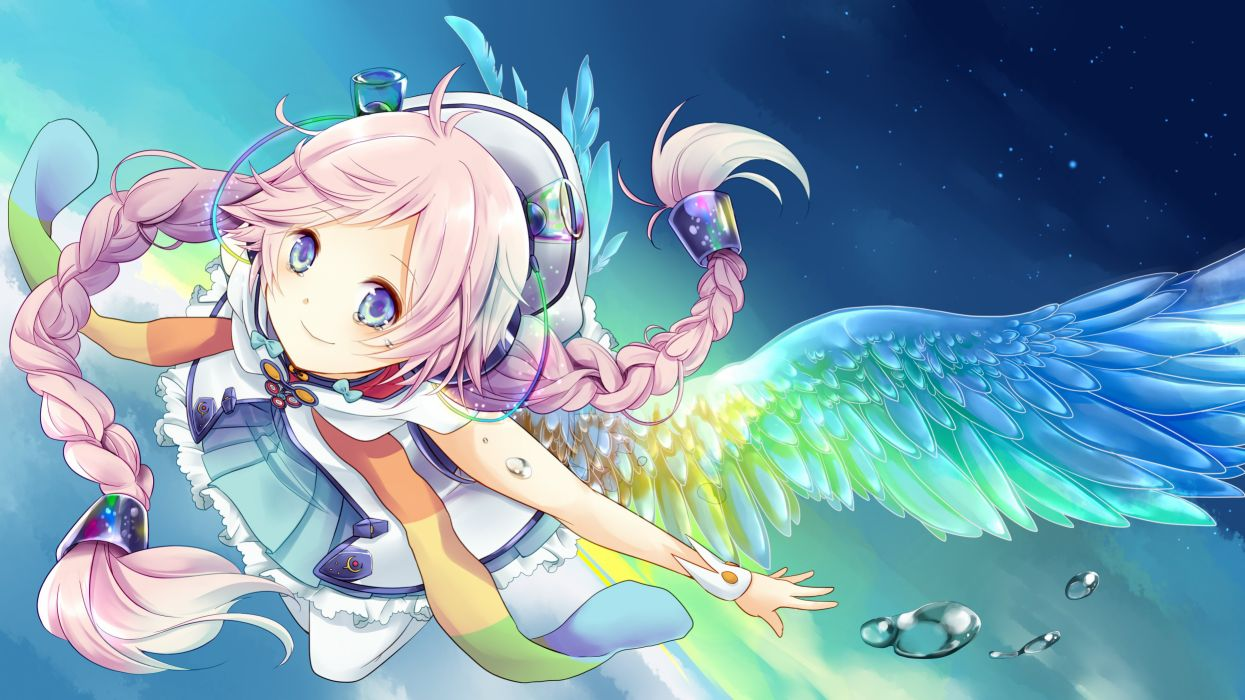 Vocaloid Rana (Vocaloid) Flying Unusual Colored Wings Twin Braids wallpaper