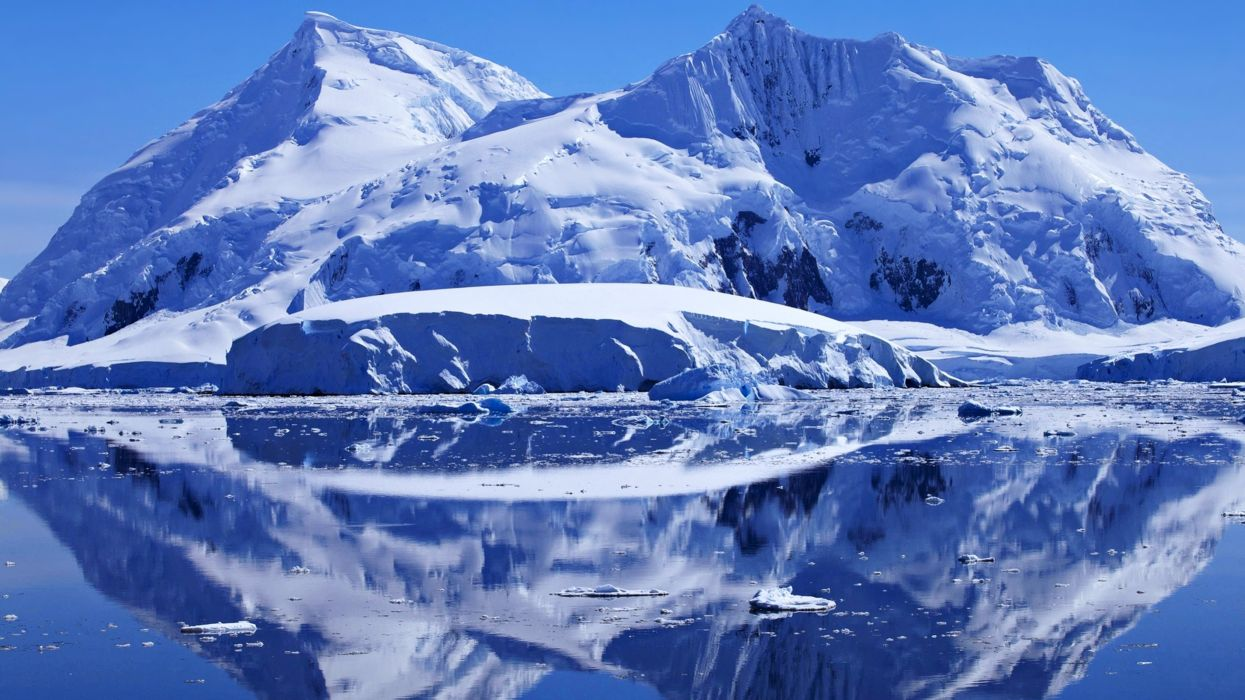 Pole Arctic snow mountains ice sea landscapes white cold nature wallpaper