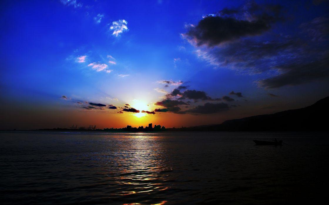 sunset sky clouds blue orange sea boat sailing landscapes nature earth wallpaper