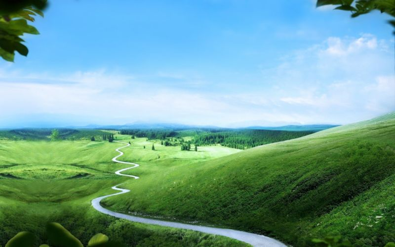 green landscapes hills road long way path trees nature earth sky clouds wallpaper