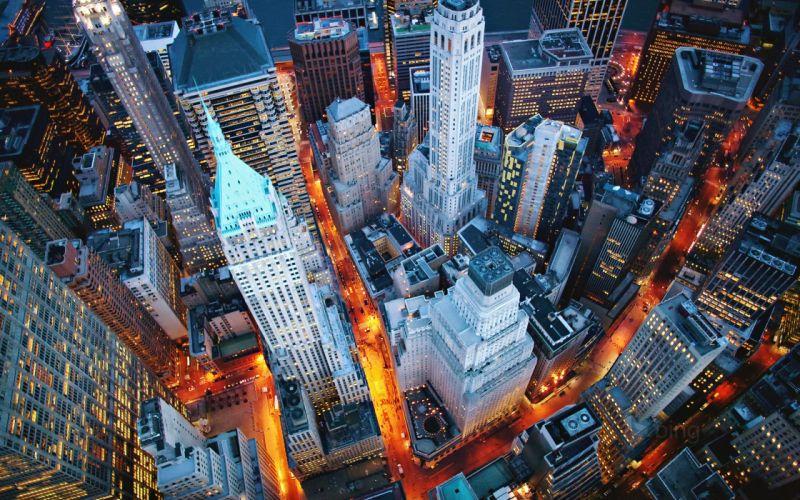 USA city New York buildings Manhattan Walls Skyscrapers Street night lights wallpaper