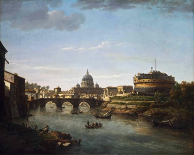 Bridge Cathedral Rome william marlow picture artwork painting wallpaper