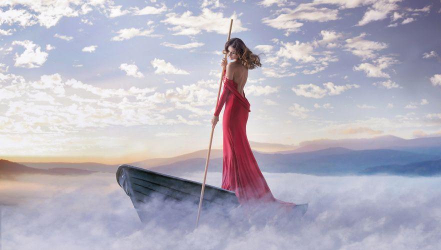 girl dress cleavage boat pole mood fog lake dream babe wallpaper