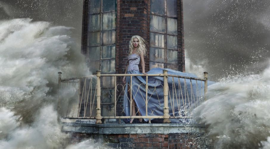 girl dress lighthouse storm wave splash sea ocean storm drops blonde situation artwork wallpaper