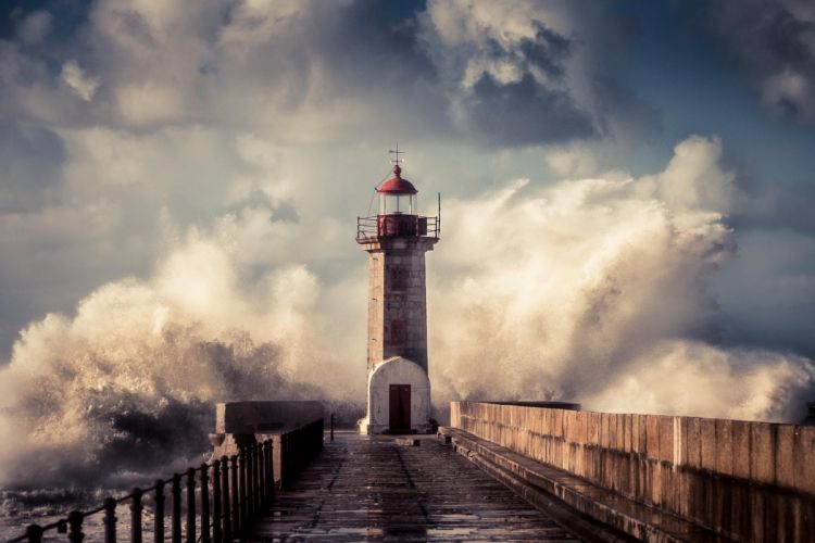 Landscape lighthouse pier wave splash storm drops sea ocean wallpaper