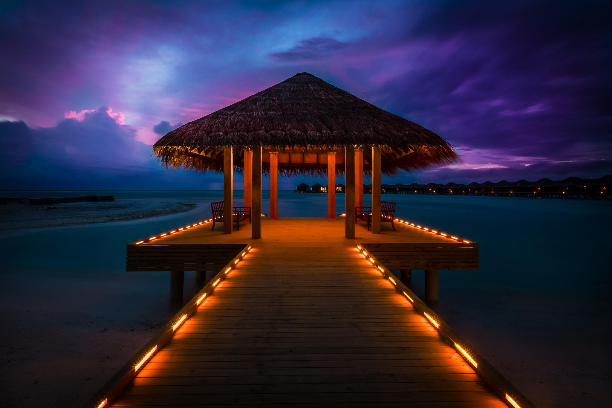 maldives sunset sun bungalows ocean lights landscape wallpaper