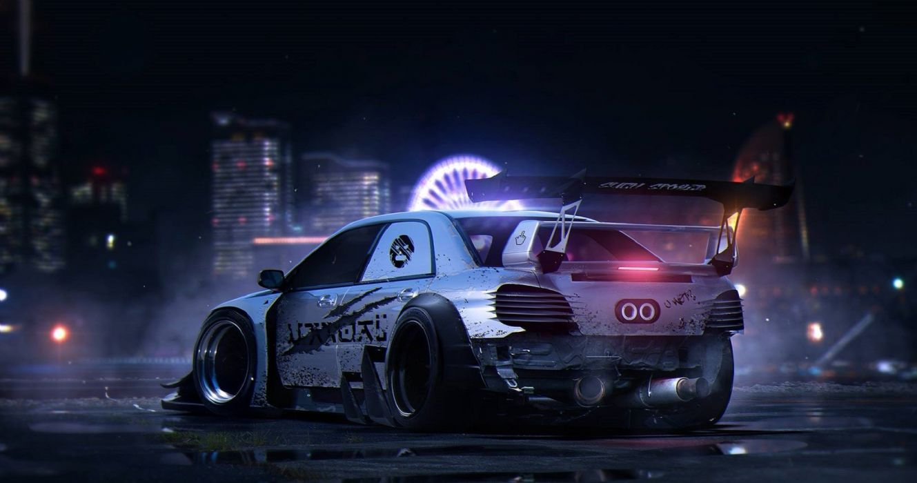 rendering sti wrx subaru by khyzyl saleem nigth rear impreza tuning drift race racing wallpaper