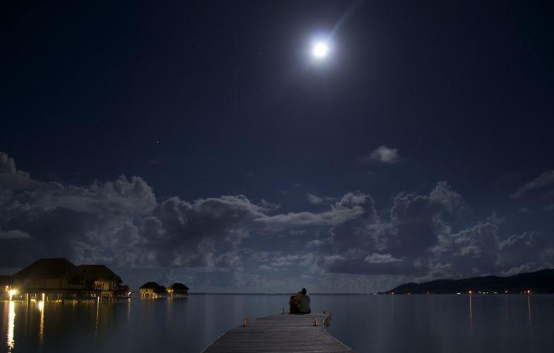 night moon ocean two romance mood love wallpaper