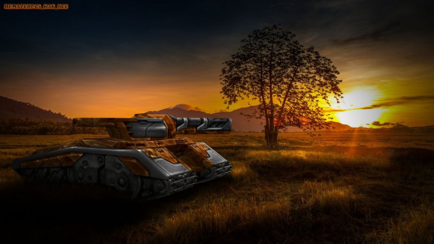 tank tanks military weapon artwork sci-fi sunset sunrise wallpaper