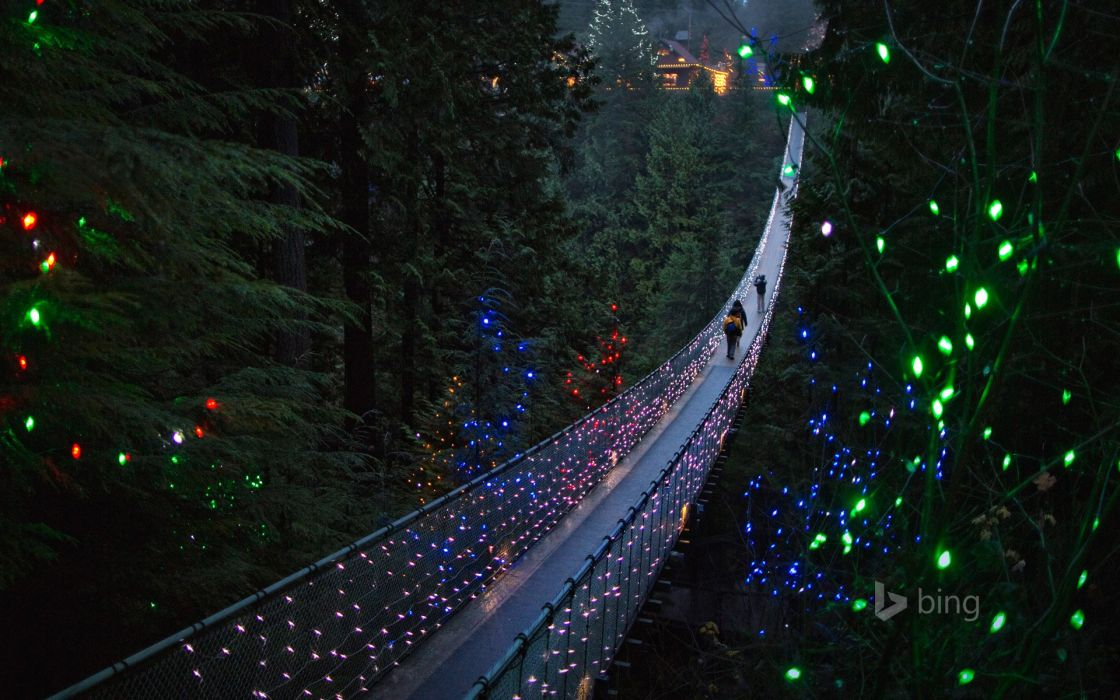 Vancouver British Columbia Canada Capilano British Columbia Canada the suspension bridge bridge trees forest nature holiday lights people landscape wallpaper