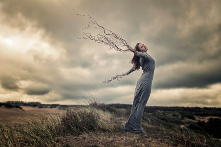 wind girl hands roots drean witch wicca wiccan earth mood nature manipulation photoshop wallpaper