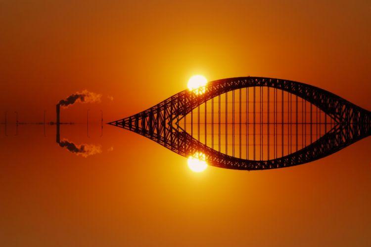 banghwa bridge south korea sunset sun orange sun Factory wallpaper