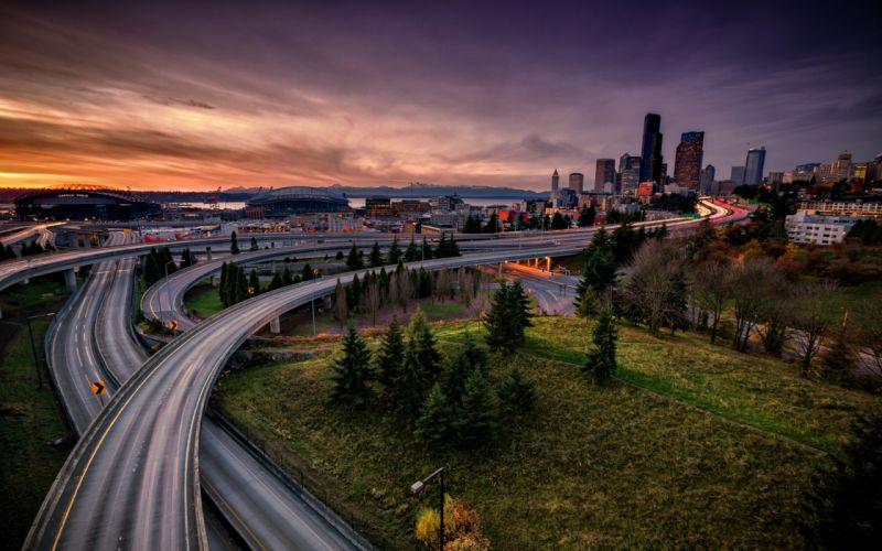 bridges buildings ways City clouds Country sunset trees lights path roads sky skyscrapers stadium wallpaper