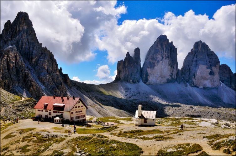 lavaredo paterno italy mountains landscapes earth nature houses countryside clouds sky traveling trips people high wallpaper