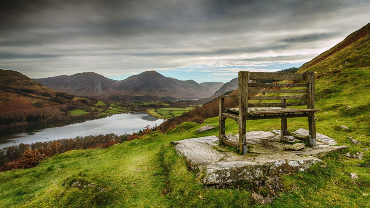 lakes district chair landscapes nature story rocks green grass mountains hills trees Wood countryside wallpaper