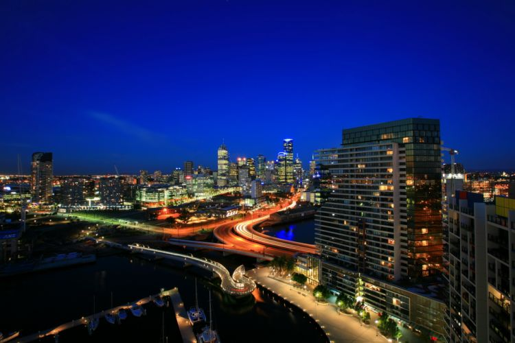 melbourne australia country city lights evening buildings sky blue Skyscrapers hotels Port Boats sea wallpaper