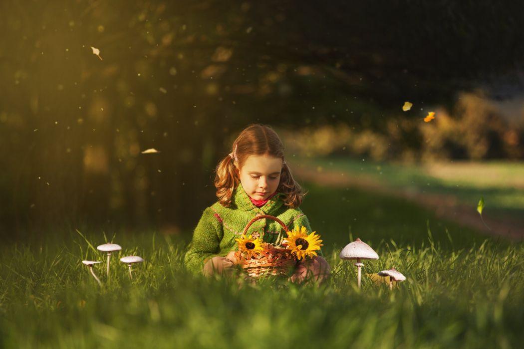 Kids Children Fun Joy Nature Play Grass Green Spring Girls Landscapes Earth Flowers Basket Happy Wallpaper