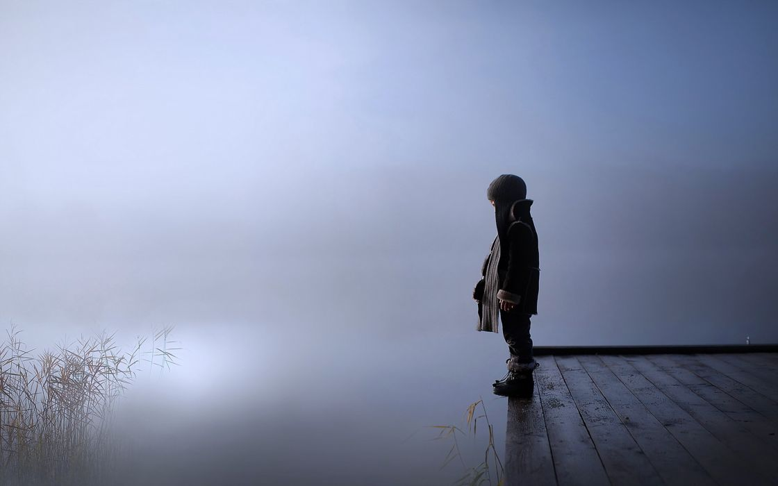 kids children sad lonely fog lakes alone cold winter pain look wallpaper