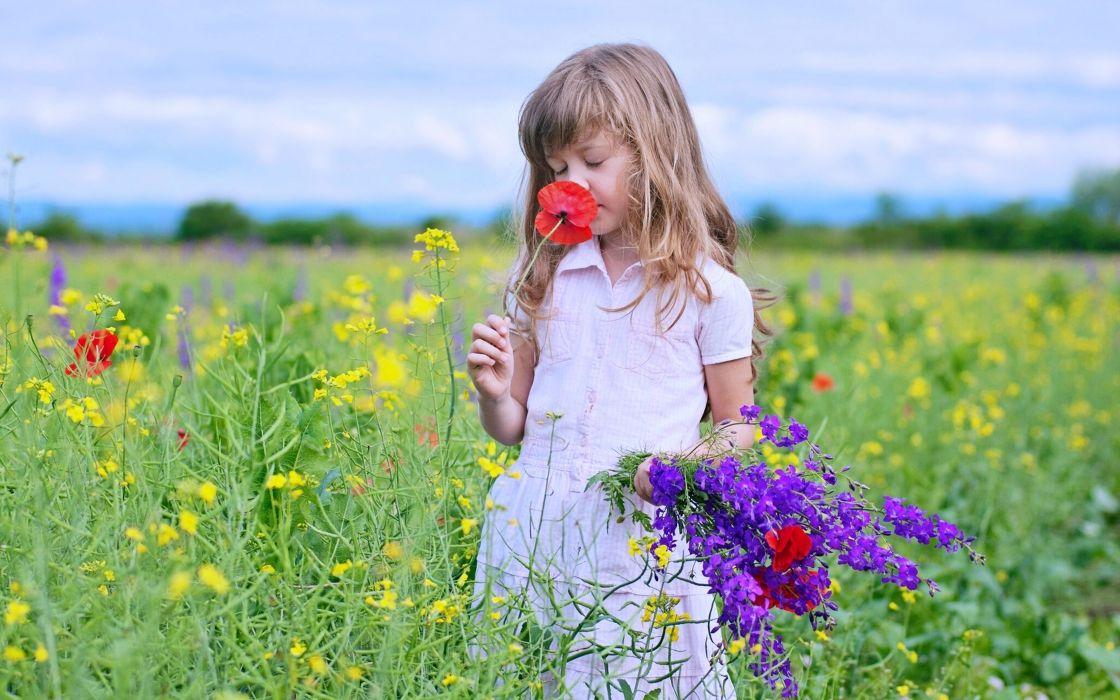 Kids Children Nature Landscapes Flowers Fields Spring Joy