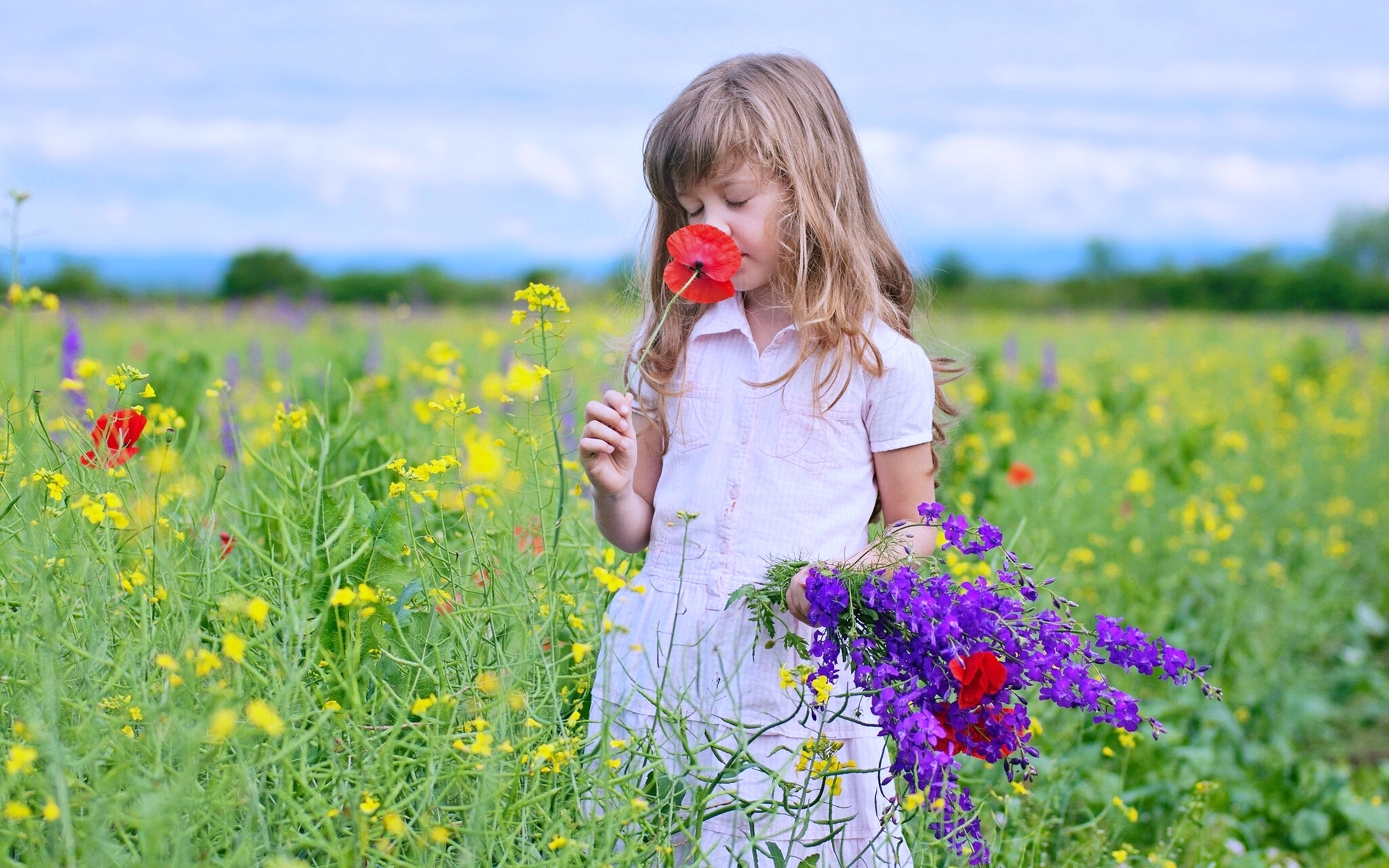 Kids Children Nature Landscapes Flowers Fields Spring Joy Fun Happy
