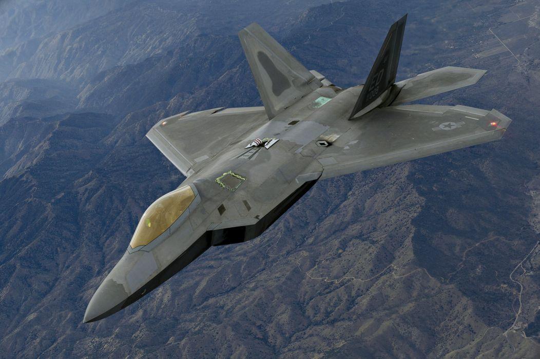 f-22 aptor mnogocelevoy sky warplane a Russian a fighter mountains bombing flight missiles wallpaper