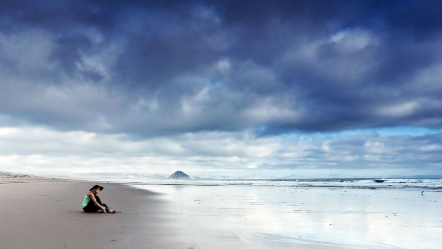lonely mood sad alone sadness emotion people loneliness Solitude beacg ocean wallpaper