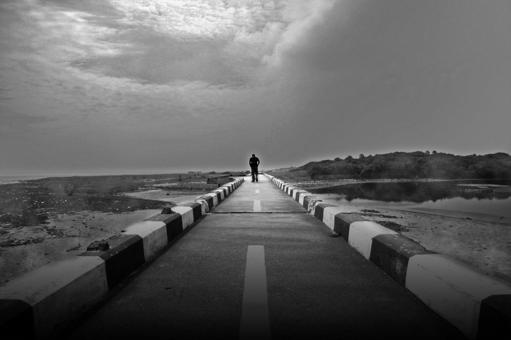 lonely mood sad alone sadness emotion people loneliness Solitude road wallpaper