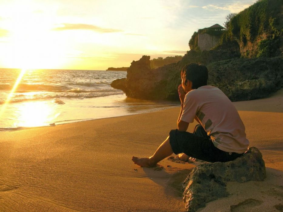 lonely mood sad alone sadness emotion people loneliness Solitude boy man men beach sunset sea ocean wallpaper