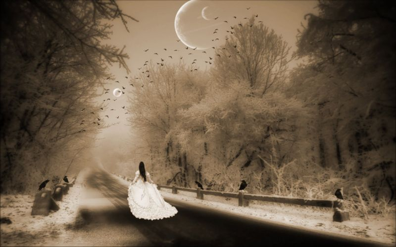 lonely mood sad alone sadness emotion people loneliness Solitude gothic fantasy girl photoshop road winter moon wallpaper